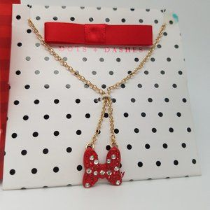Disney X Dots & Dashes Red Bow Necklace NWT